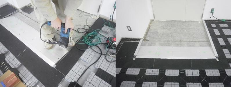溝配線式OAフロアパネル施工スロープ設置
