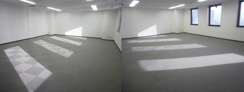 溝配線式OAフロア設置施工完了後、タイルカーペット貼り、巾木取付施工完了