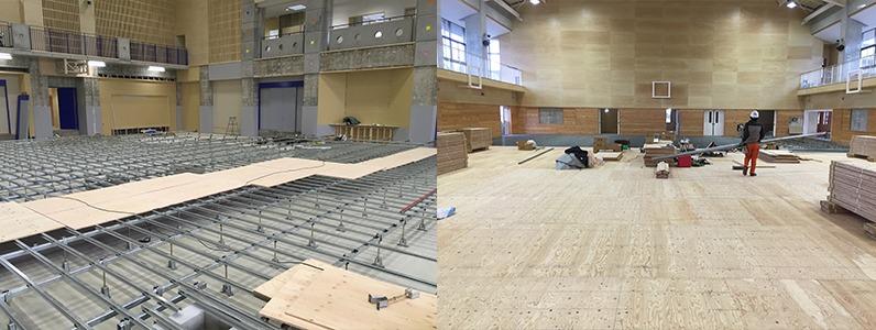 鋼製床下地組床式コンパネ捨て貼り施工