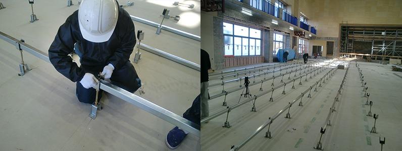 鋼製床下地組床式大引施工