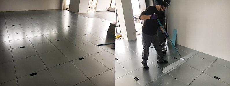 OAフロアパネル設置及びタイルカーペット用接着剤塗布作業
