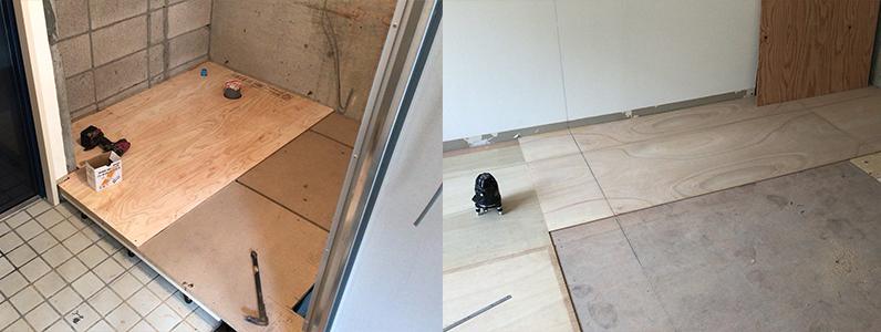 賃貸アパートリノベーション、浮き床・二重床、捨て貼り施工