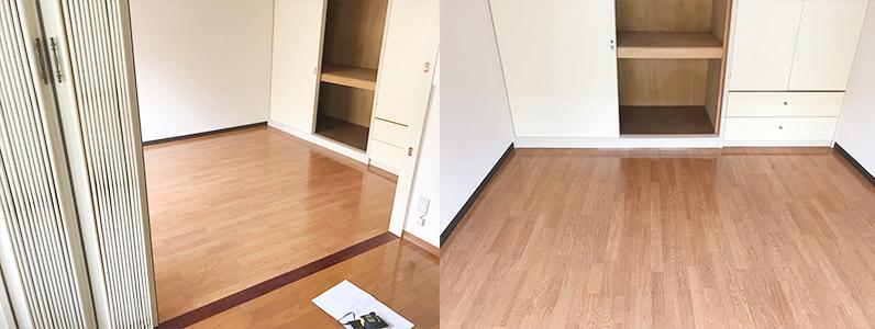 賃貸アパートリノベーション、浮き床・二重床、捨て貼り後フローリング根太張り