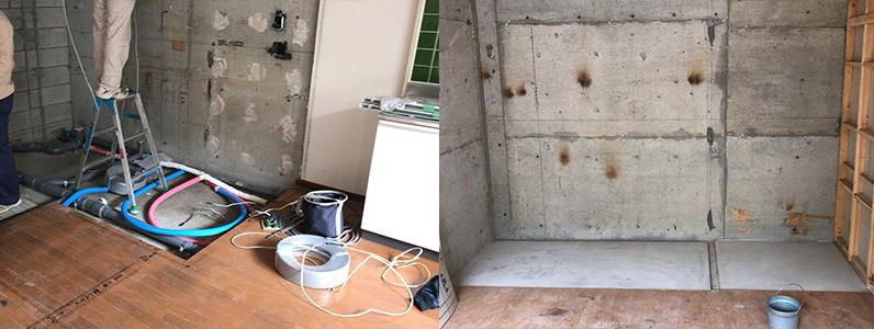 賃貸アパートリノベーション、浮き床・二重床、フローリング施工前