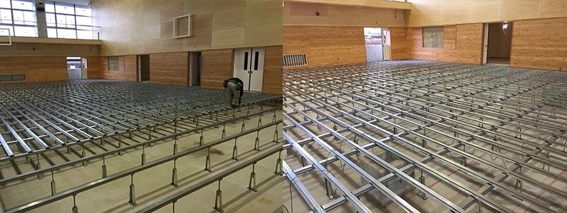 鋼製床下地組床式根太施工