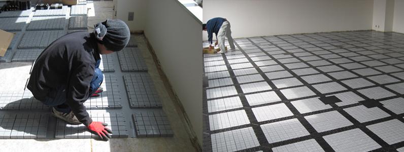 テナント既存床OAフロア設置及びタイルカーペット敷き施工状況