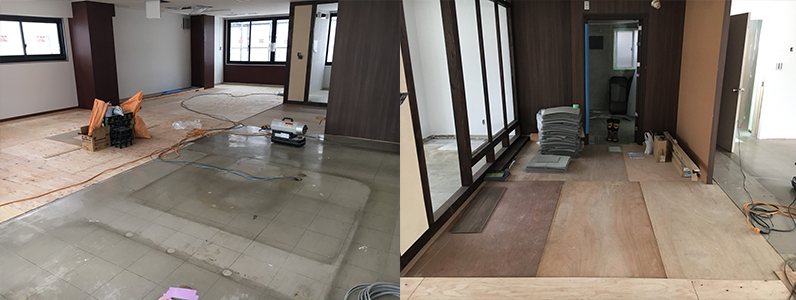 既存床、床上げコンパネ捨て貼り作業