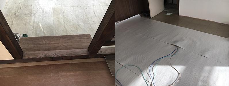 企業オフィス、床施工前間仕切りパーテーション設置スロープ設置