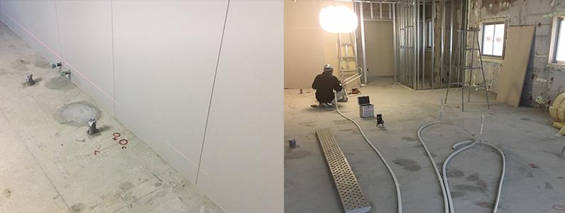 戸建て住宅置床二重床フローリング張り施工