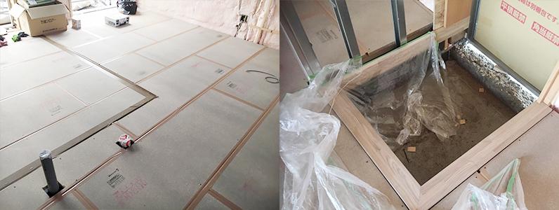 置床・乾式二重床パネル設置完了、框設置完了
