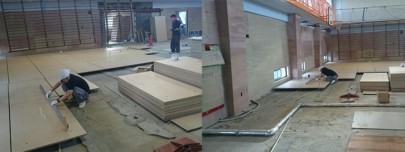 鋼製床下地置床式レベル調整作業