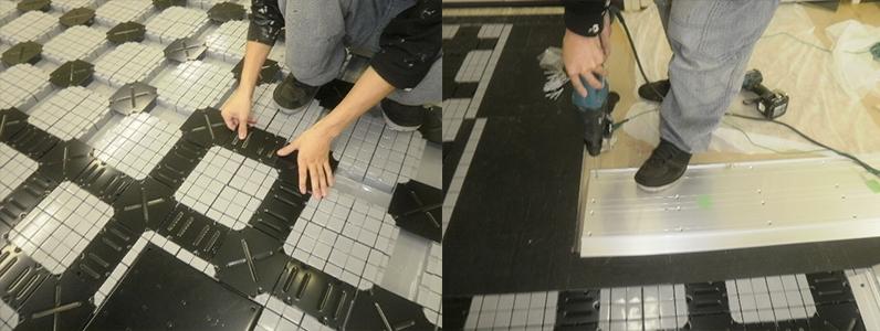 溝配線式フリーアクセスフロアパネル金属カバー取付け