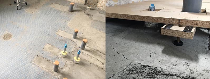 公民館大規模改修主体工事、置床・乾式二重床、フローリング貼り施工前