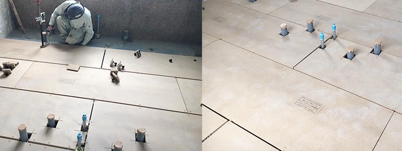 公民館大規模改修主体工事、置床・乾式二重床、フローリング貼り、支持脚、パーチ施工