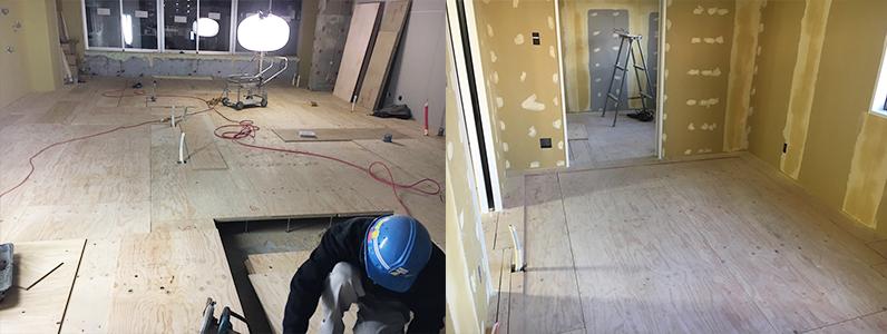 戸建て住宅置床・乾式二重床施工後捨て貼り及び框設置作業