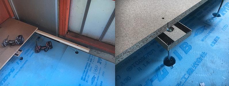 コンクリートスラブ置床前スタイロフォーム断熱