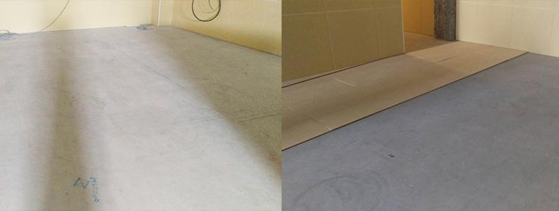 ショッピングモール床工事捨て貼り見切り設置施工前