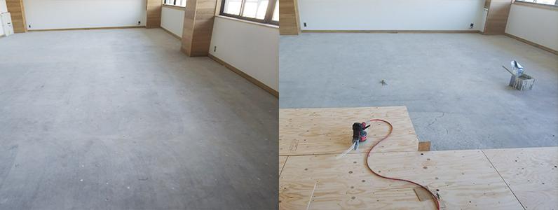 コンクリートスラブ針葉樹合板捨て貼り施工