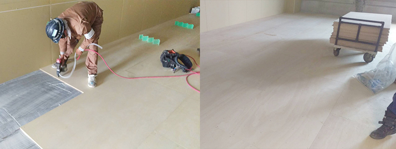 ショッピングモール床コンパネ捨て貼り施工