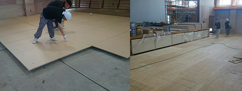 体育館鋼製床下地置床式パネル設置後捨て貼り施工