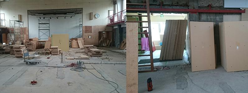 体育館置床式パネル施工前