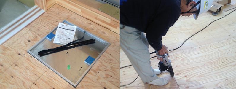 体育館組床式鋼製床下地、針葉樹合板捨て貼り施工ビス止め、点検口取付