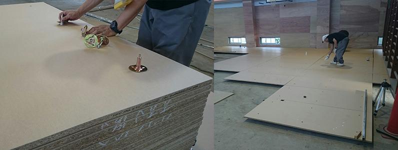 体育館鋼製床下地置床式パネル施工支持脚調整