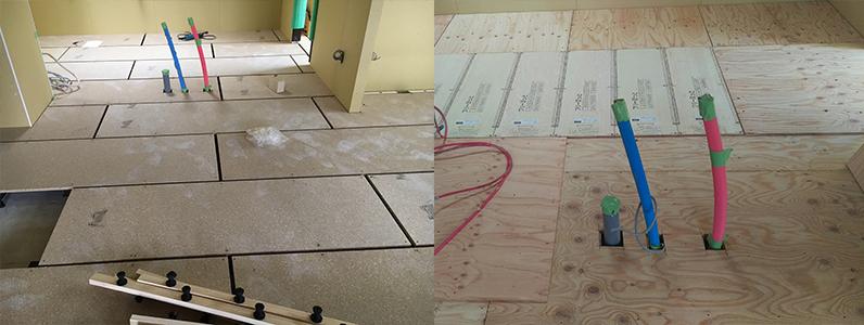 置床・乾式二重床工事後、コンパネ捨て貼り施工