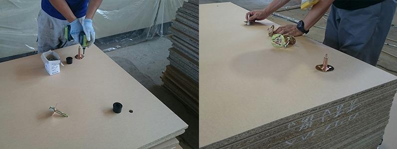 鋼製床下地置床式支持脚受け取付施工